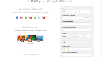 Creating new gmail account